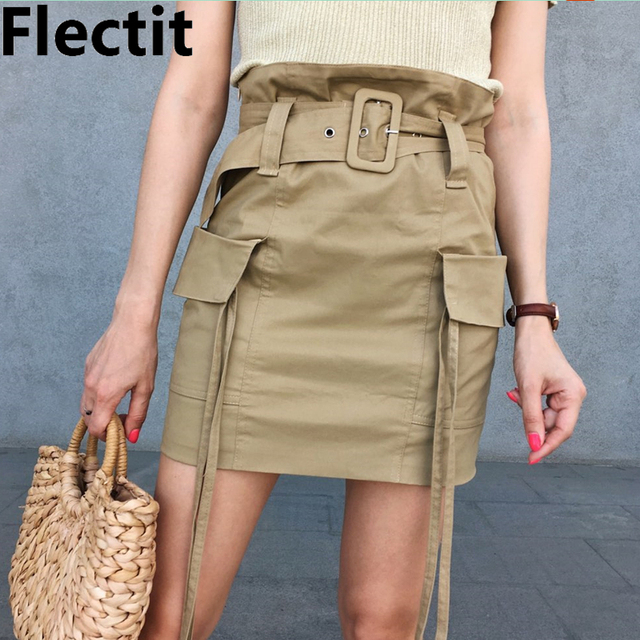 Flectit Utility Paperbag High Waist Cargo Skirt with Belt Big Pocket Strap Accent Women Fashion Outfits