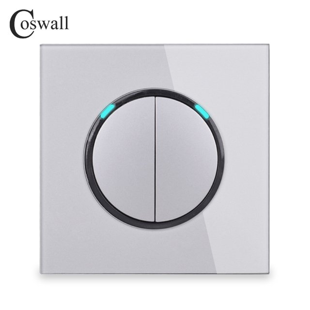 Coswall  2 Gang 1 Way Random Click Push On / Off Wall Light Switch With LED Indicator Tempered Crystal Glass Panel 16A Grey