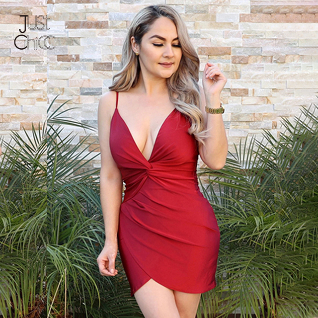 Justchicc Red Sexy Dress Mini Spaghetti Strap Deep V-Neck Club Party Dress Short Solid Backless Bodycon Summer Dress Women Robe