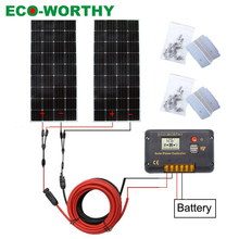 ECOWORTHY 300W 12/24V solar system: 2pcs 150W mono solar panel& 20A controller& 5m black red cables Z charge FOR 12V battery kit