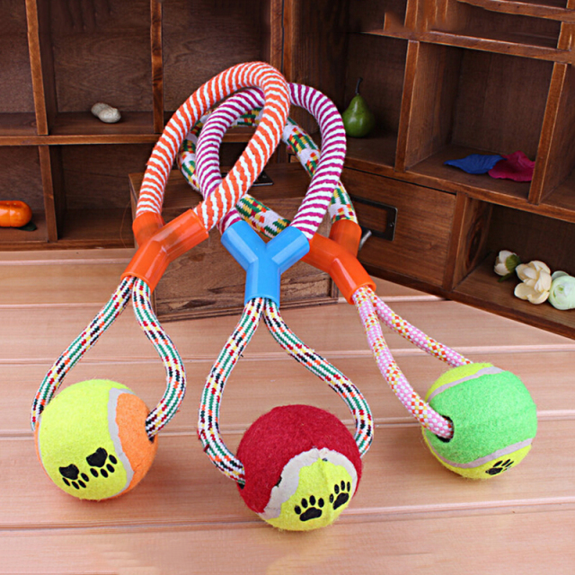 Dog Training Products Dog Play Rope Ball Toys Dogs Exercise Play Dog Rope Toys Tennis Style Pet Chew Rope Toys