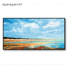 Pure Hand-painted Blue Sky Acrylic Painting Beautiful Wall Art Big Canvas Abstract Landscape Blue Sky and Beach Acrylic Painting