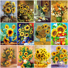 HUACAN Painting By Numbers Sunflower DIY Drawing Canvas Hand Painted Pictures By Number Flower Home Decoration
