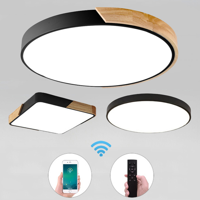 Ultra-Thin LED 5cm Ceiling Light Modern Ceiling Lamp Surface Mount Flush Panel Remote Control Light for Restaurant Foyer Bedroom
