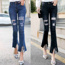2020 spring girls' new fashion  jeans hole cool jeans 740