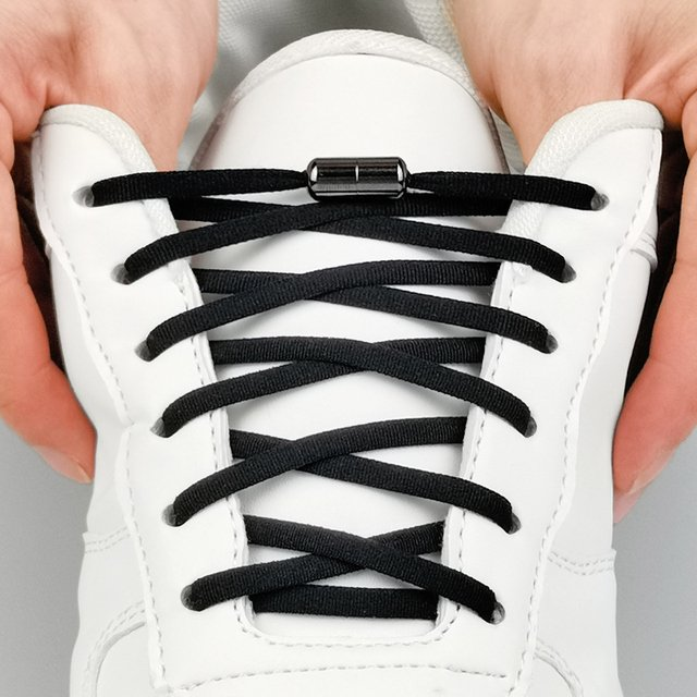 Elastic No Tie Shoelaces Metal Lock Shoe Laces For Kids Adult Sneakers Quick Shoelaces Semicircle Shoelaces Lazy Laces N4001