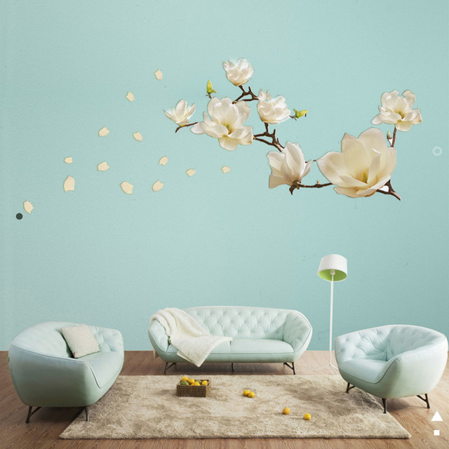 Wall stickers removable stickers muraux waterproof white magnolia home decoration PVC posters DIY mural wall stickers artist liv