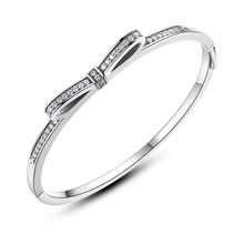 Free Shipping Authentic 925 Sterling Silver Bow Open Bangle Fit Original Pan Charm Bracelets For Women DIY Jewelry