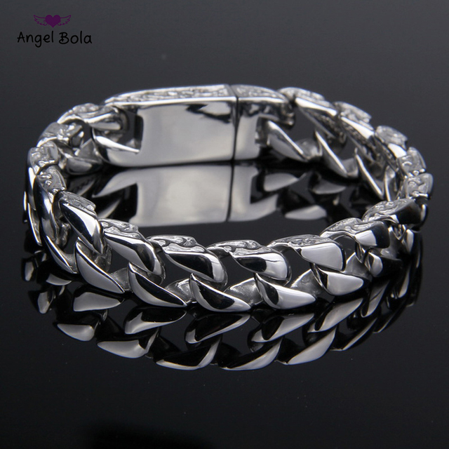Mens Buddha Bracelet 316L Stainless Steel Silver Color Curved Curb Link Chain Bracelets for Men Davieslee Wholesale Jewelry 11mm