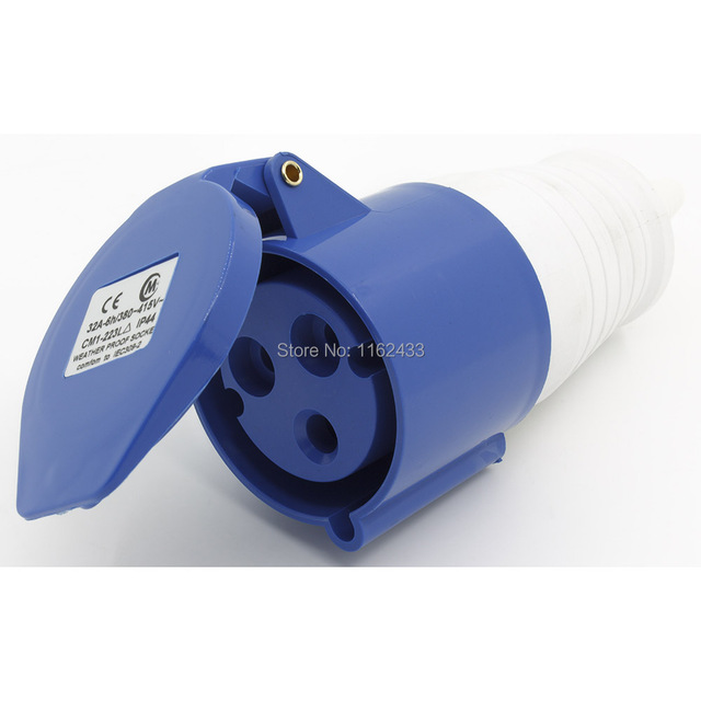 32A 2P E 3 pin 220-240V IP44 223L single phase splashproof industrial connector coupler with cable sleeve