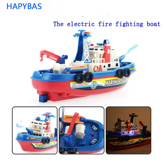 Funny toy! Fire Boat Electric Boat Model Children electric toy Boat navigation Non-remote toy Christmas gift