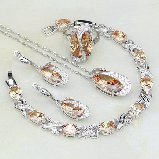 925 Sterling Silver Jewelry Champagne Crystal White CZ Jewelry Sets For Women Wedding Earrings/Pendant/Necklace/Bracelet/Ring