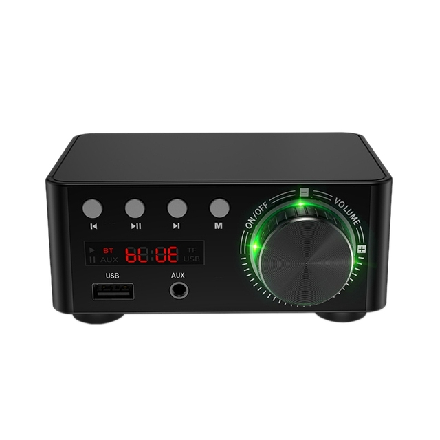 50W x 2 Mini Class D Stereo Bluetooth 5.0 Amplifier TPA3116 TF 3.5mm USB Input Hifi Audio Home AMP for Mobile/Computer/Laptop