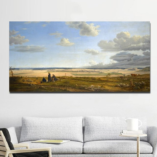 SELFLESSLY Canvas Prints Pastoral Landscape Oil Painting Modular Pictures Wall Art For Living Room,Bedroom Natural Landscape Art