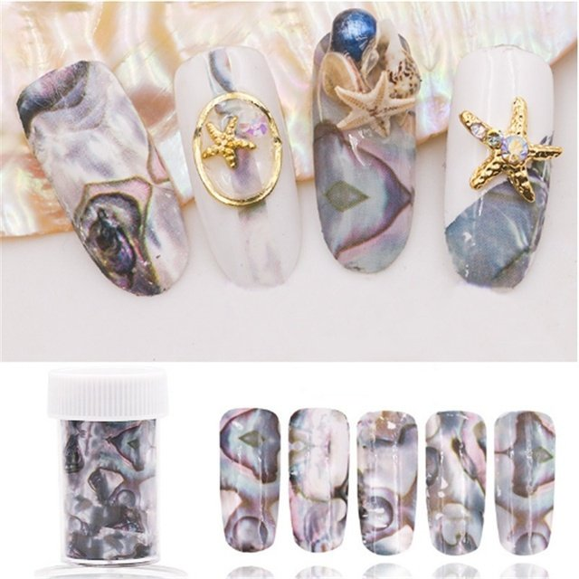 4*120cm Shell Starry Sky Nail Foils Gradient Marble Pattern Nail Art Transfer Stickers Full Wraps Decals Manicure Decorations