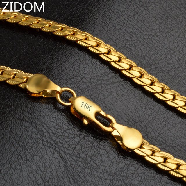 2018 hot sale Gold color Men Hiphop chain necklace fashion 5mm/20inch long Chains Necklaces women jewelry gifts