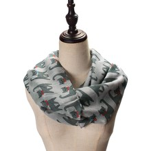 2020 Hot Sale Winter Scarf Cape For Women Casual Ladies Girl Voile Bow Cat Printed Pattern Silk Scarf Wrap Shawl Scarf Female