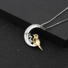 Necklace Pendant 0.49Ct 925 Sterling Silver Women Silver Pendant Natural Sky Blue Topaz Cute Fishtail Pendant Party High Jewelry