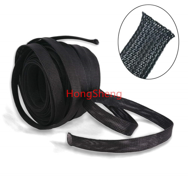 Free shipping High quality 10meters/lot Three wire encryption 16mm Black expandable braided tube mesh woven PET braided tube