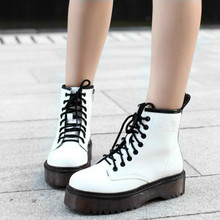 Fashion Women Jason Martins Boots Autumn  Winter Motorcycle Ankle Platform Boots Ladies Boots Black PU Leather Shoes