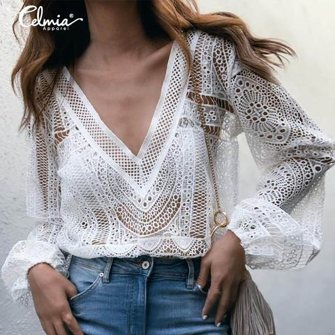 Celmia Elegant White Lace Blouse Women Shirt Sexy Hollow Out Embroidery Blusas Feminine Long Sleeve V Neck Summer Tops Plus Size Buy Cheap In An Online Store With Delivery Price Comparison