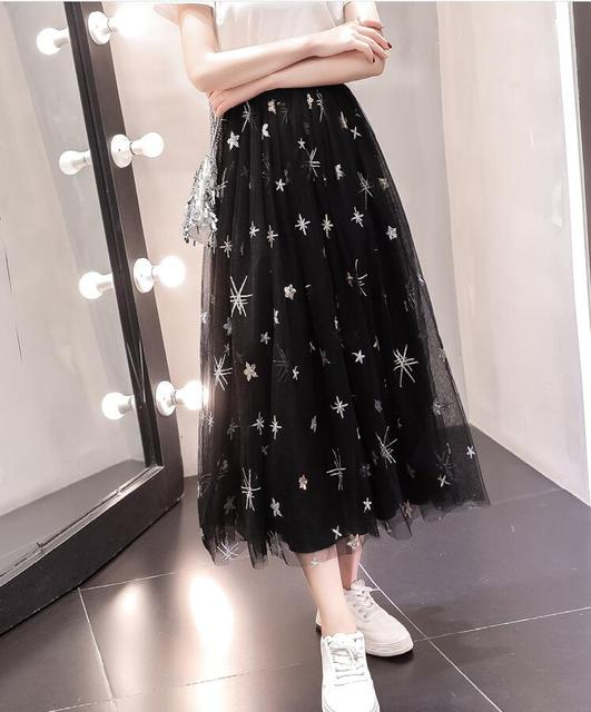 Star skirt women spring and summer new Korean high waist mesh embroidery a word skirts