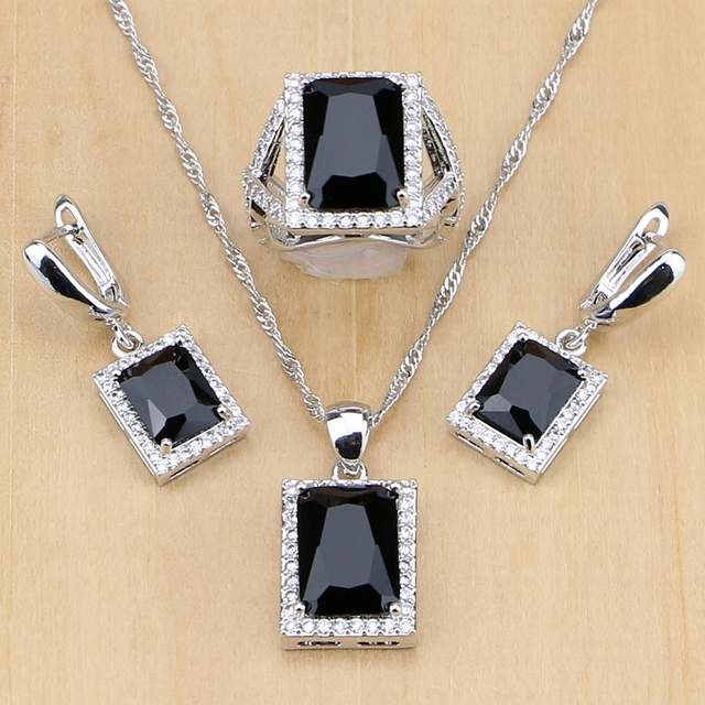 Women 925 Sterling Silver Jewelry Black CZ White Birthstones Jewelry Set Wedding Earrings/Pendant/Necklace/Ring Dropshipping