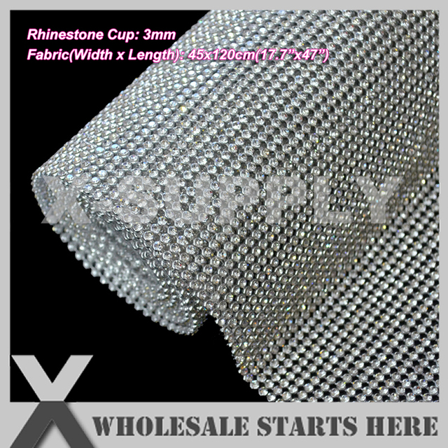 P1 3mm Iron On Rhinestone Mesh Sheet Silver Metal Base,With Hot Fix Glue Backing