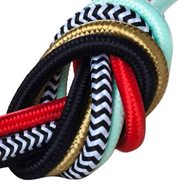 2m 3m 5m or 10m VDE Certified 2 Core Round Textile Electrical Wire Colorful Fabric Cable Flexible Vintage Lamp Power Cord