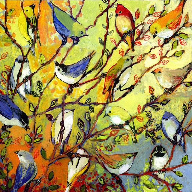 Canvas art abstract painting 16 birds decorative oil painting modern colorful animal picture for children's room hand painted