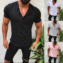 Newest Summer Casual T Shirt Men Fashion Slim Fit short sleeve V neck Hip hop T-Shirt Tops cotton Tshirts Men Tee Size M-3XL