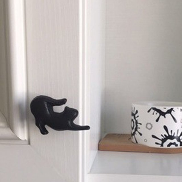 Variety Cast Iron Cute Cat Style Door Drawer Cabinet Wardrobe Pull Handle Knobs Vintage Rural Furniture Hardware