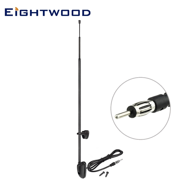 Eightwood Car Antenna Pillar Mount TV  Aerial Extendable Chrome 3 Section Fits Most Cars Vans