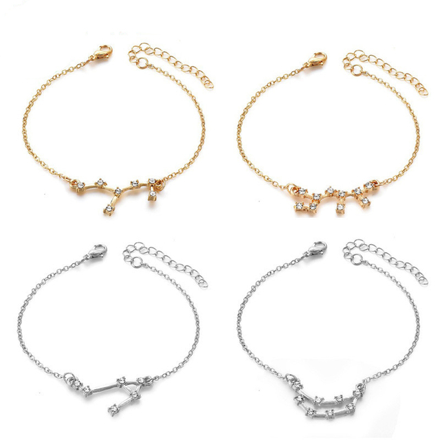 Romantic 12 Constellation Crystal Bracelets Wish Card Cute Pendant Dangle Bracelets Bohemian Rhinestone For Women Gifts Jewelry