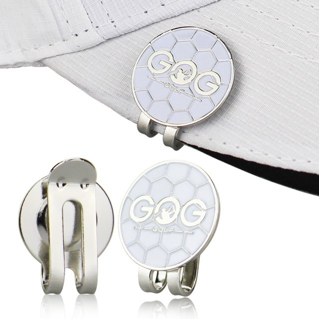 GOG Golf Ball Mark with Magnet Golf Hat Clip Alloy Professional Training Aids Accessories White