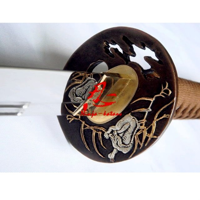 clay tempered double groove japanese functional wolf katana can cut bamboos