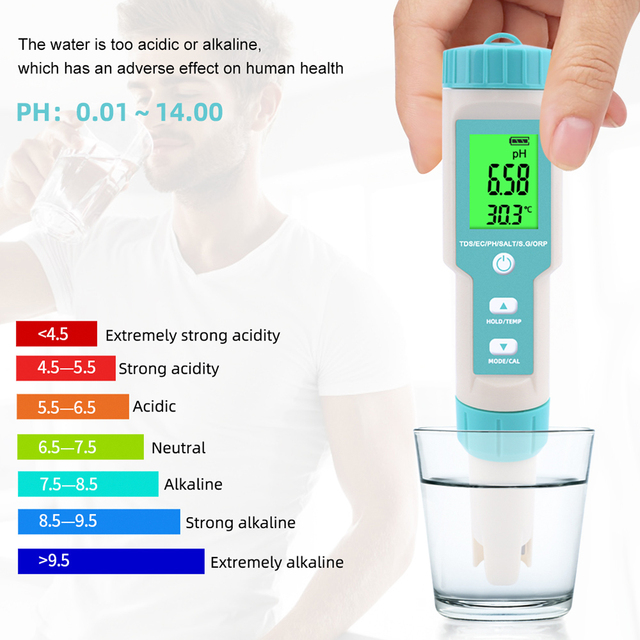 PH/TDS/EC/ORP/S.G/Salinity/Temperature Multi-Parameter Pocket Water Quality Tester with Electrode Replaceable C-600 PH Meter