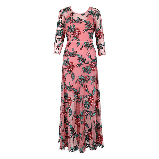 High Quality Sexy Perspective Mesh Floral Embroidery Long Maxi Dress for Women Elegant 3/4 Sleeves Slim Evening Party Dresses