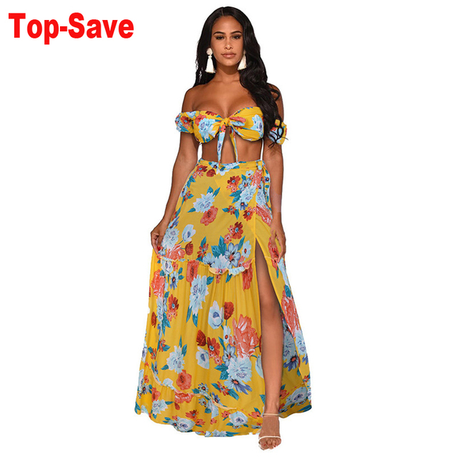 2020 Spring Summer Sexy Women Chiffon Two Piece Set Crop Top Long Skirt Floral Printed Bandeau Bandage High Waist Casual Suits