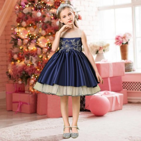 New 2021 Red Blue Girl Party Dress Elegant Kids Dresses For Girls Children Clothing Wedding Princess Evening Dress 8 10 12 Years Buy Cheap In An Online Store With Delivery Price