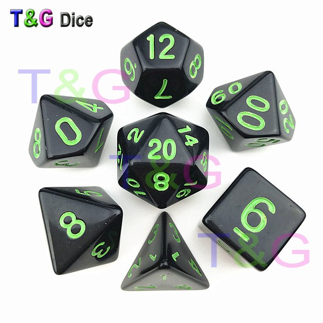 T&G High quality 7Pcs/Set Acrylic Polyhedral TRPG Games For DND Opaque D4-D20 Multi Sides Dice Pop for Game Gaming