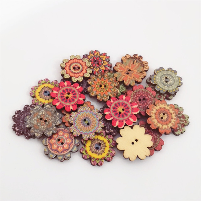 50pcs 20mm Natural Flower Shaped Florals Buttons For Scrapbooking Sewing Decorative Wood DIY Button Crafts Embellishments