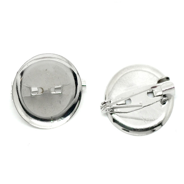 100 PCs Pin Brooches Findings Iron Alloy Silver Color Round Cabochon Setting 20mm Dia.(Fit 18mm Dia.)  For DIY Jewelry Making