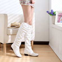 Fashion Women PU Leather Boots Boots Spring Boots Botas Female Stretch Shoes Woman Black White Roma Knee-Length Boots
