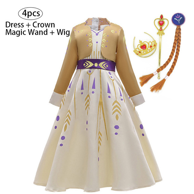 Girls Dress Carnival Party Cosplay Costume Kids Dresses For Girls Princess 2 Elsa Dress Christmas Children Clothing 3 8 12 Years