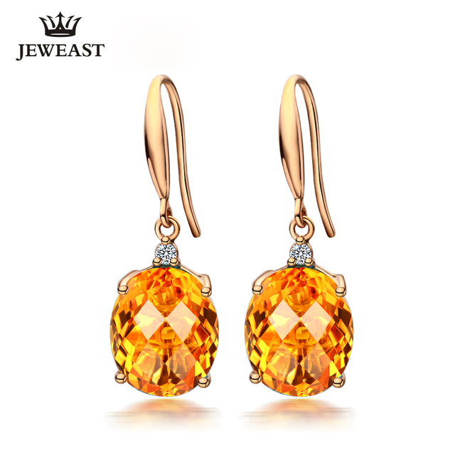 Lszb Natural Citrine 18k Pure Gold Earring Real Au 750 Solid Gold Earrings Diamond Trendy Fine Jewelry Hot Sell New 2020 Buy Cheap In An Online Store With Delivery Price Comparison
