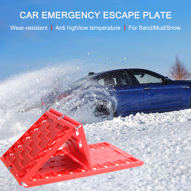 2Pcs Tire Grip Aid Foldable Non-Slip Car Emergency Escape Plate Traction Mat for Most SUVs Cars Vans from Snow Ice Mud Sand