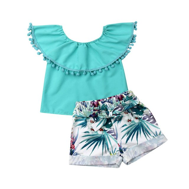 Hot Sale Toddler Kids Baby Girls Outfits Clothes T-shirt Tops+Shorts Pants Sets Baby Girl Clothes Set Infant Outfit Newborn Sets
