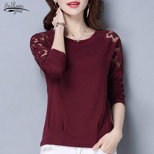 2021 New Fashion Long Sleeve Solid Women Blouse Tops Casual Plus Size Lace Shirt Women Pullover Clothes Chemisier Femme 7137 50