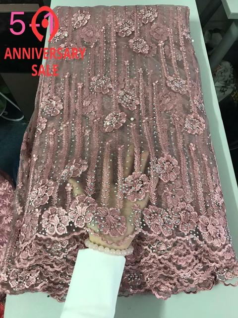 The lateset Onion color net lace fabric design with stones for party